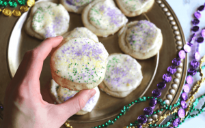 Mardi Gras Cookies with Rum Frosting